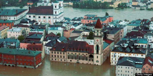 PASSAU, GERMANY - JUNE 03: General view of Passau, flooded by the rising River Danube on June 3, 2013...
