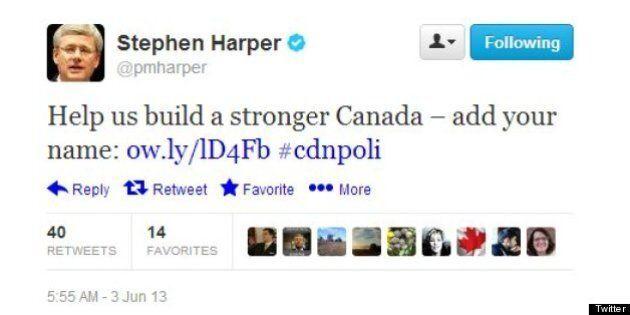 Les comptes Twitter de Stephen Harper soulèvent des