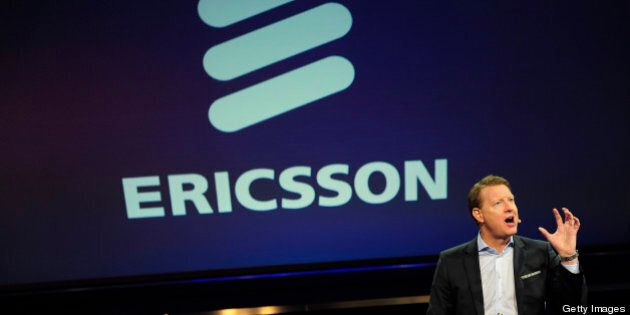 Ericsson president and CEO Hans Vestberg gives a press conference in Barcelona on February 25, 2013 on...