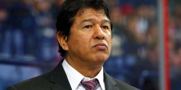 HELSINKI, FINLAND - MAY 04: Ted Nolan, head coach of Latvia looks on during the IIHF World Championship...