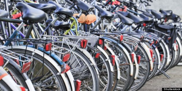row parked bicycles in