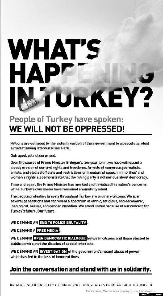 La contestation turque s'offre une pleine page de pub dans le New York