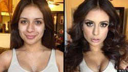 De nouvelles actrices de films X avant et après maquillage