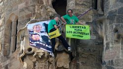 Des militants de Greenpeace escaladent la Sagrada