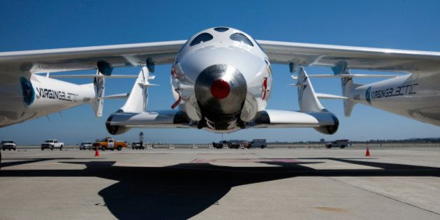 Virgin Galactic's private SpaceShipTwo spacecraft sits on the tarmac at the San Francisco International...