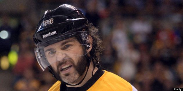 BOSTON, MA - JUNE 17: Jaromir Jagr #68 of the Boston Bruins looks on from the ice against the Chicago...