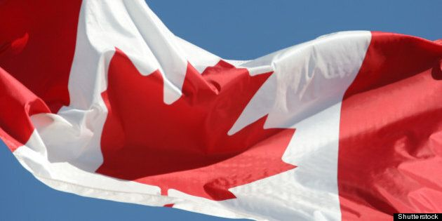 waving flag of canada in