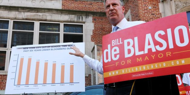 NEW YORK, NY - AUGUST 15: New York City Public Advocate and Democratic mayoral candidate Bill de Blasio...