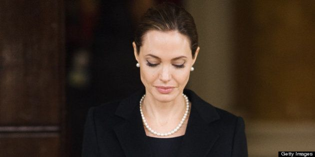 US actress and humanitarian campaigner Angelina Jolie leaves Lancaster House in central London on April...