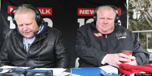 TORONTO, ON - APRIL 13: Mayor Rob Ford and his brother Councillor Doug Ford, while hosting their Sunday radio show, were on hand on Coun. James Pasternak's annual clean-up day at Earl Bales Park in North York. (Rene Johnston/Toronto Star via Getty Images)