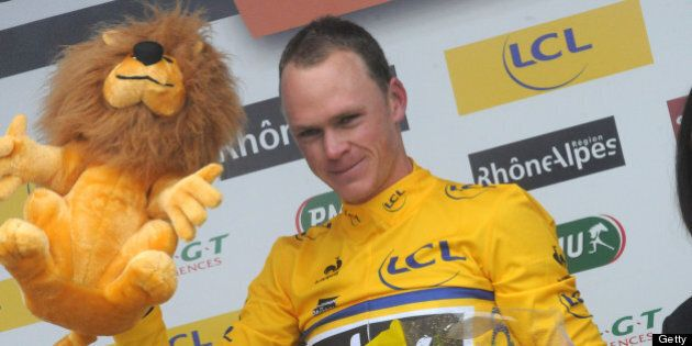 FRANCE - JUNE 09: (FRANCE OUT) Christopher Froome of Team Sky Procycling on the final podium during Stage...