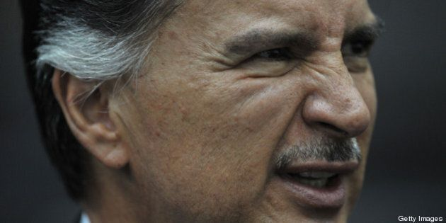 (FILE) This file photo from May 9, 2011 shows former Guatemalan President (2000-2004) Alfonso Portillo...