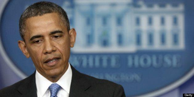WASHINGTON, DC - APRIL 30: U.S. President Barack Obama speaks during a press conference in the Briefing...