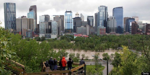 An elevated view of the flooding at Bow River gives lookers a view next to the downtown core, in Calgary,...