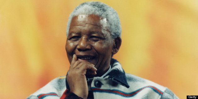 TORONTO, ON - SEPTEMBER 25: Nelson Mandela received a hero's welcome from 40,000 children at SkyDome...