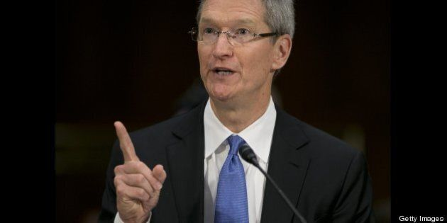 Tim Cook, chief executive officer of Apple Inc., speaks during a Senate Permanent Subcommittee on Investigations...