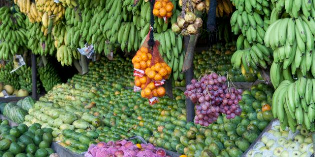 An impressive display of fresh tropical fruits at a roadside stand in Sri