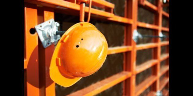 construction hardhat over
