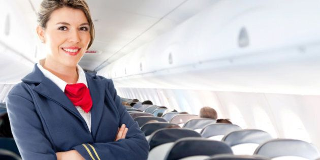 beautiful air hostess in