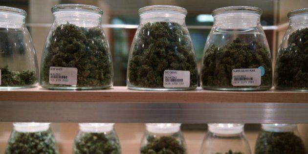 Jars containing various strands of medical marijuana sit behind a display case at the River Rock Medical...