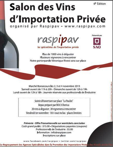 Le Salon des vins d'importation privée commence ce week-end à