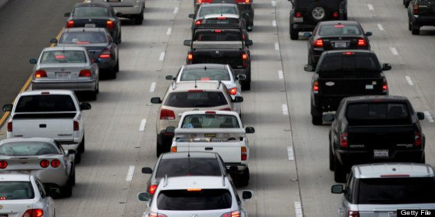 LOS ANGELES, CA - APRIL 25:  Morning traffic fills the SR2 freeway on April 25, 2013 in Los Angeles, California. The nation's second largest city, Los Angeles, has again been ranked the worst in the nation for ozone pollution and fourth for particulates by the American Lung Association in it's annual air quality report card. Ozone is a component of smog that forms when sunlight reacts with hydrocarbon and nitrous oxide emissions. Particulates pollution includes substances like dust and soot.   (Photo by David McNew/Getty Images)