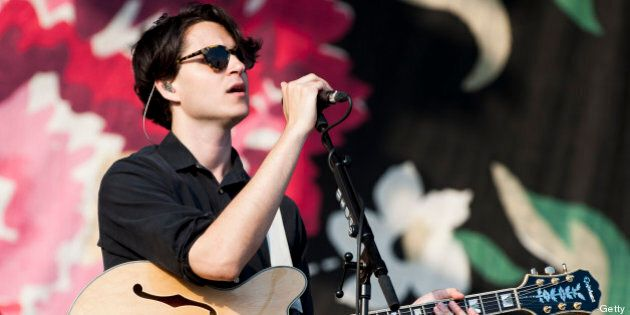 LONDON, UNITED KINGDOM - JULY 06: Ezra Koenig of Vampire Weekend performs at Summer Stampede at Olympic Park on July 6, 2013 in London, England. (Photo by Nick Pickles/WireImage)
