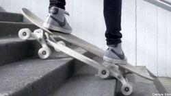 Un skateboard pour descendre tranquille les escaliers
