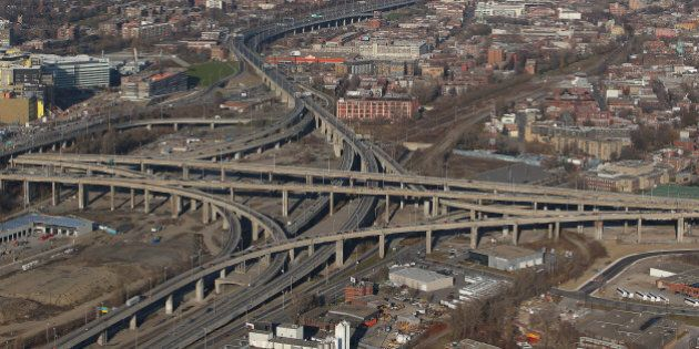 MONTREAL, QC - NOVEMBER 18: An aerial view of traffic on the Turcot Interchange and the Montreal skyline...