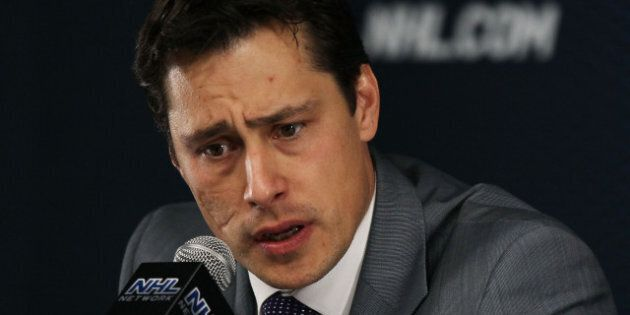 BOSTON, MA - MAY 27: Head coach Guy Boucher of the Tampa Bay Lightning speaks to the media after their...