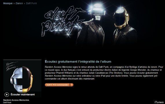 Nouvel album de Daft Punk: Random Acces Memory disponible en streaming sur iTunes