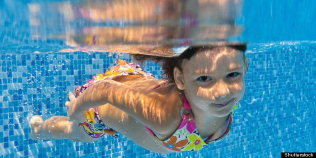 happy smiling underwater child...