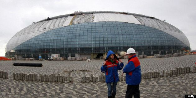 SOCHI, RUSSIA - FEBRUARY 10: A general view shows the construction site of the 'Bolshoi' Olympic ice...