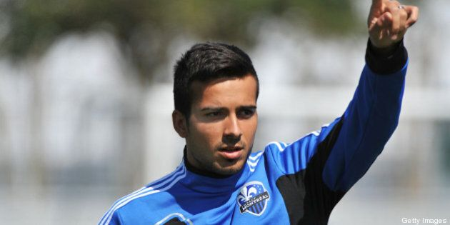 ORLANDO, FL - FEBRUARY 16: Defender Matteo Ferrari #13 of the Montreal Impact warms up for play against...