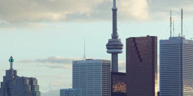 Canada, Ontario, Toronto, skyline over Don River Valley