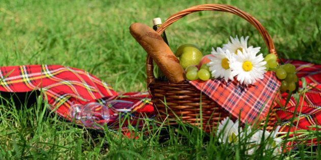 picnic basket with red