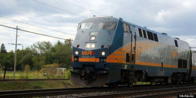 Description 1 Via Rail Train 44 from Toronto, bound for Ottawa, speeds through Brighton, Ontario   Source http://www. flickr. com/photos/ ...