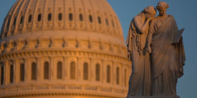 The Peace Monument memorial stands in front of the U.S. Capitol in Washington, D.C., U.S., on Sunday,...