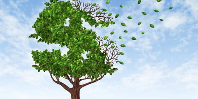 Losing your savings and managing your debt and financial budget with a green tree in the shape of a dollar...