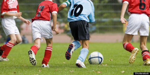 detail of a soccer game with...