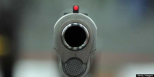 A view of a .45 semi-auto handgun at the National Rifle Association (NRA) Annual Convention on May 4,...