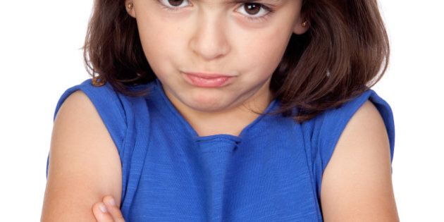 angry little girl isolated on a ...