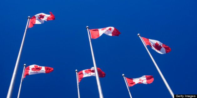 Canadian flags on tall poles against a blue