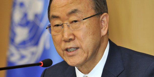UN Secretary General Ban Ki-Moon speaks at a press conference during a visit to Seoul on August 26, 2013....