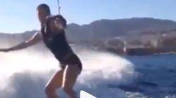 Elle s'est essayée au ski nautique