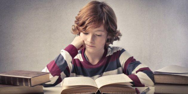 concentrated child reading