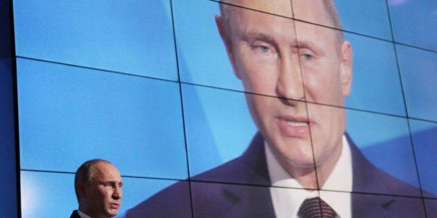VALDAI LAKE, RUSSIA - SEPTEMBER 19: Russian President Vladimir Putin speaks during an annual meeting...