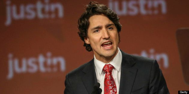 TORONTO, ON - APRIL 6: Justin Trudeau addresses the crowd at the federal Liberal showcase at the Metro...