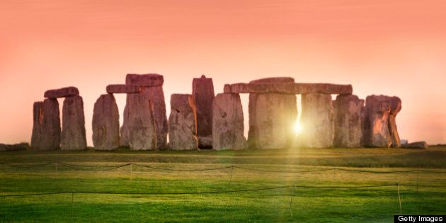The prehistoric monument of Stonehenge in England. Focus is on the