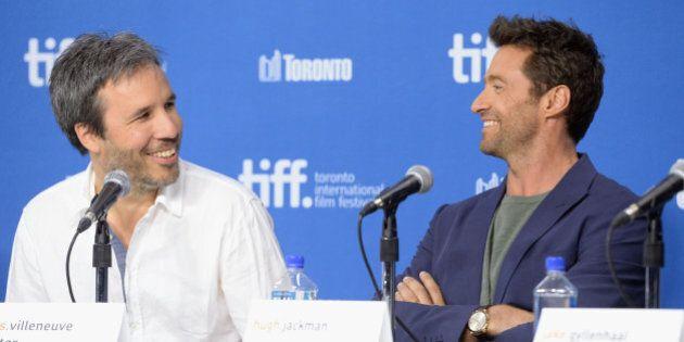 TORONTO, ON - SEPTEMBER 07: (L-R) Director Denis Villeneuve and actor Hugh Jackman speak onstage at 'Prisoners'...